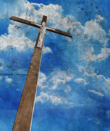 christmas religious: cross on grunge background Stock Photo