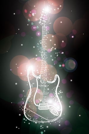 electric guitar in neon spots of light photo