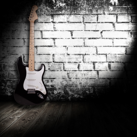 abandoned room: electric guitar in the room