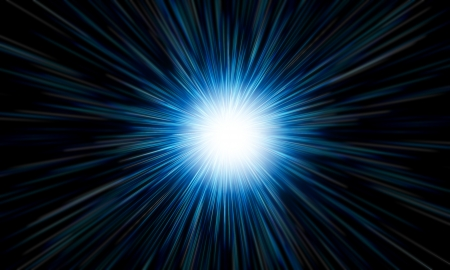 irradiate: white flash on a blue backgrounds