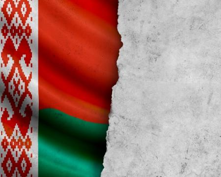 Grunge Belarus flag with paper frame photo