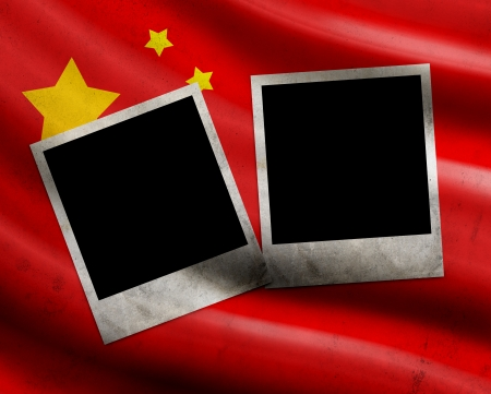 Grunge China flag with photo frames photo