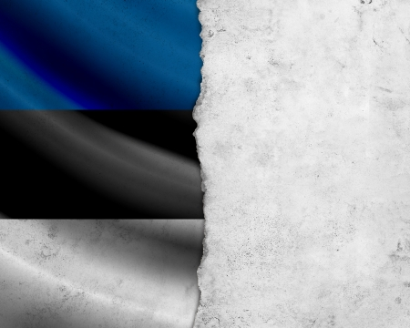 Grunge Estonia flag with frame of paper photo