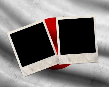 Grunge Japan flag with photo frames photo