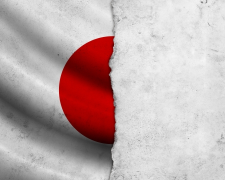 Grunge Japan flag with frame of paper photo