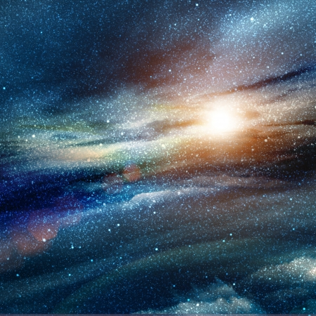 andromeda: illustration of space with multiple stars Stock Photo