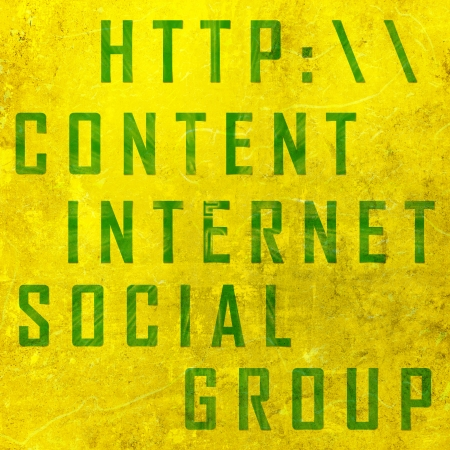 tweets: networking related words on the yellow background