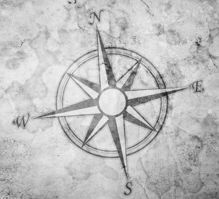 yıldız: Kağıt arka plan üzerinde eski pusula Stok Fotoğraf