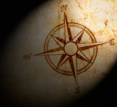 nautical map: Old compass on paper background