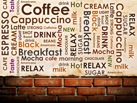 sorts of coffee on brick wall background photo