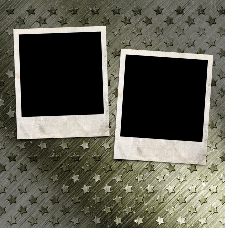 Two photo frames on military grunge background photo