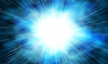 emit: white flash on a blue backgrounds
