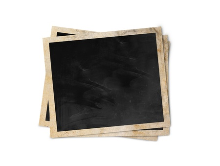 vintage photo album: Blank photo frames isolated on white background with clipping path  Stock Photo