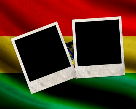 Grunge Bolivia flag with photo frames photo