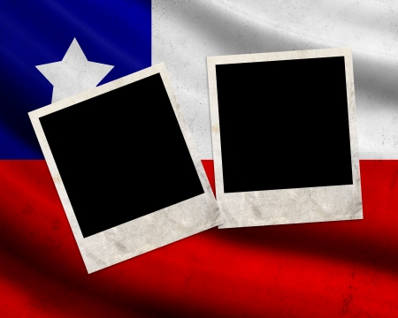 Grunge Chile flag with photo frames photo