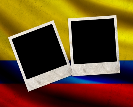 Grunge Colombia flag with photo frames photo