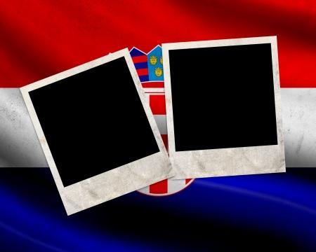 bandiera croazia: Grunge bandiera Croazia con cornici per foto