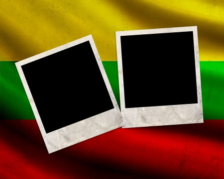 Grunge Lithuania flag with photo frames photo