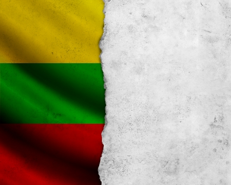Grunge Lithuania flag with paper frame photo