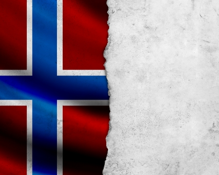 Grunge Norway flag with paper frame photo