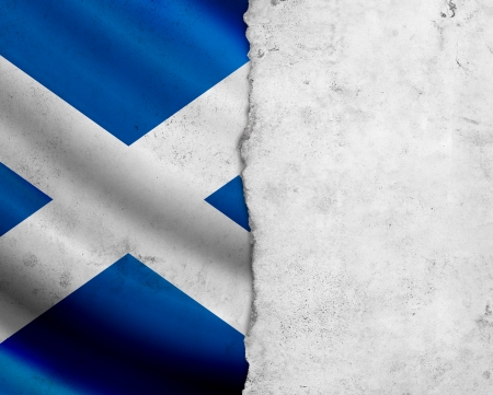 Grunge Scotland flag with paper frame photo