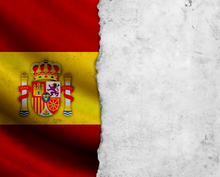 Grunge Spain flag with paper frame photo
