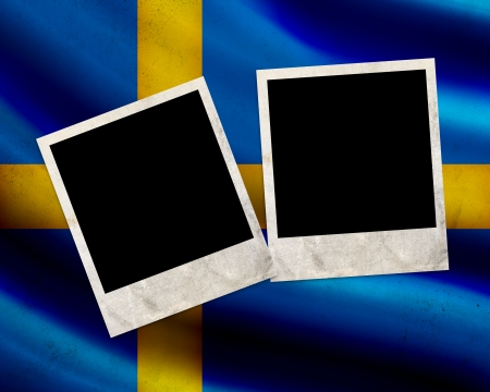 Grunge Sweden flag with photo frames photo