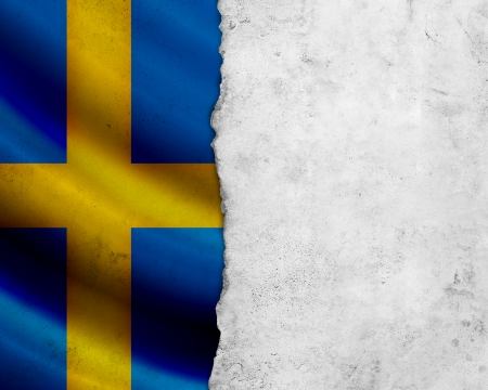 Grunge Sweden flag with paper frame photo