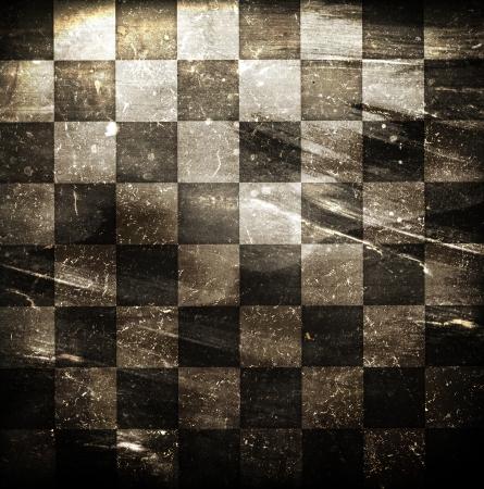 cuadros blanco y negro: Fondo sucio tablero de ajedrez salpicado de manchas