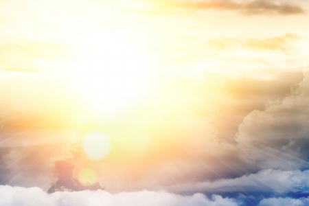 sun rays: Light from above, bright sun, blue sky and clouds