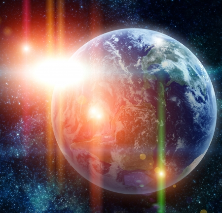 fantasy world: realistic planet earth in space. Elements of this image furnished by NASA