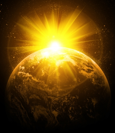 空間で現実的な惑星地球 写真素材