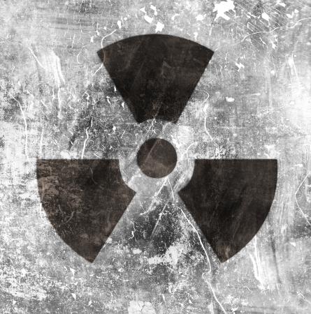 sign of radiation on grunge background photo