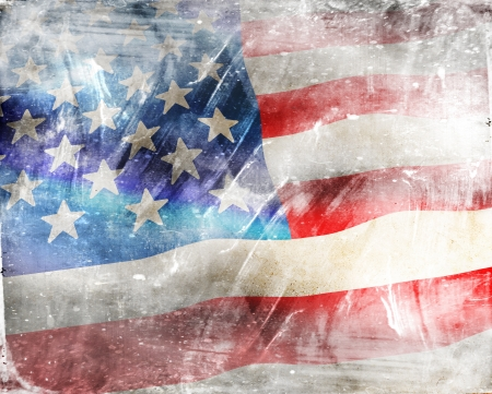 US Flag on grunge background photo