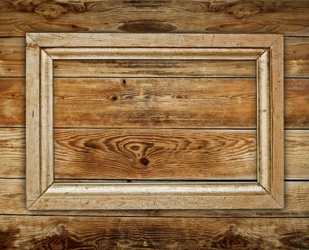 Vintage wooden frame on wood background Stockfoto