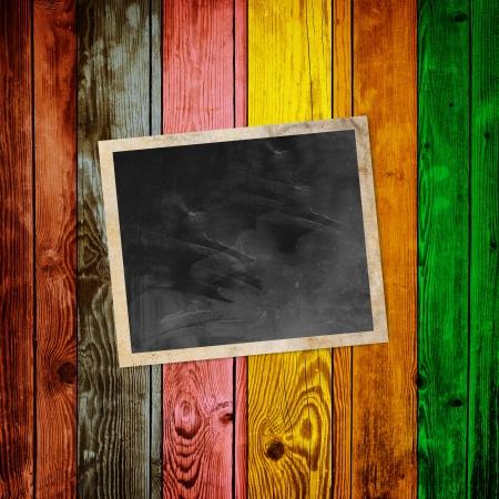 Blank Photo on Multicolored Wood Background Stock Photo - 20567971