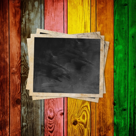Blank Photo on Multicolored Wood Background Stock Photo - 20567968