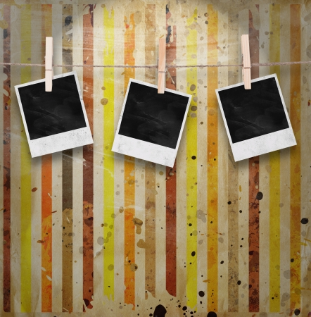recollections: Blank Photos on Multicolored vintage background