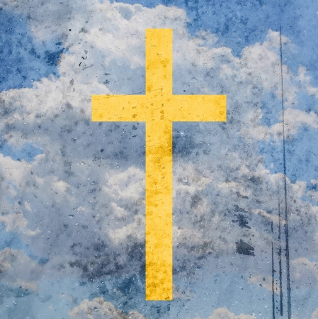 cross on abstract grunge background photo