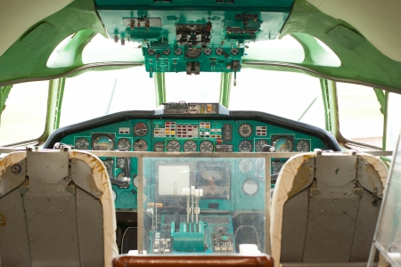 cockpit of a commercial passenger airliner without pilots