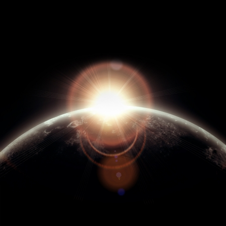 interstellar: realistic illustration of planets in space.