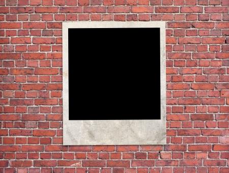 Photo frame on the brick wall  photo