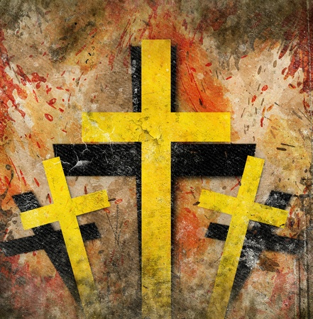 jesus in heaven: cross on abstract grunge background