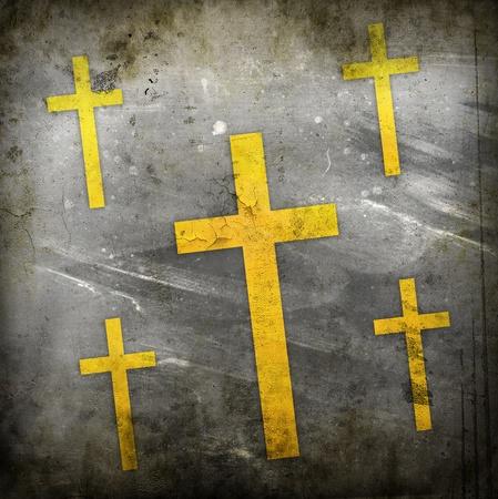 baptist: cross on red grunge background Stock Photo
