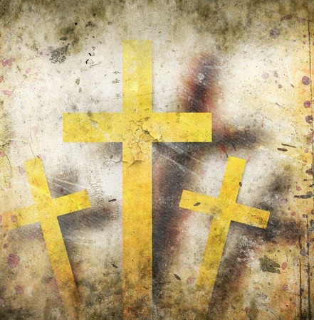 protestant: cross on abstract grunge background