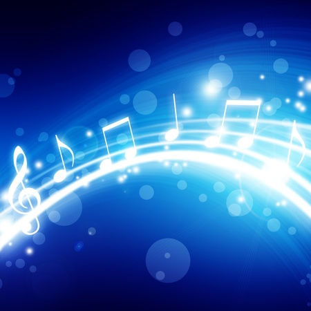 abstract music background: glowing background with musical notes