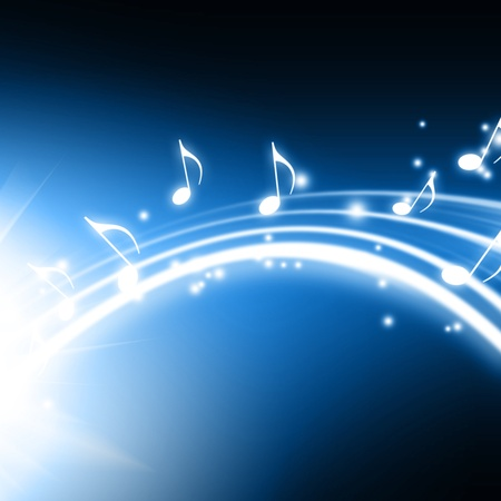 pc tune: glowing background with musical notes