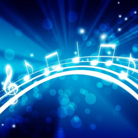 nota musical: Fondo que brilla intensamente con las notas musicales Foto de archivo