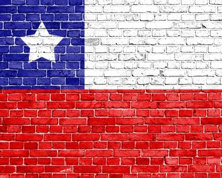 flag of chile: Grunge bandera Chile en la pared de ladrillo
