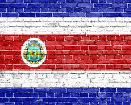 costa rica flag: Grunge Costa Rica flag on brick wall